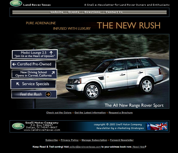 Land Rover – Email Newsletter