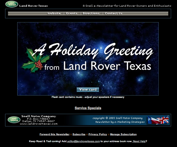 Land Rover - Holiday greeting card
