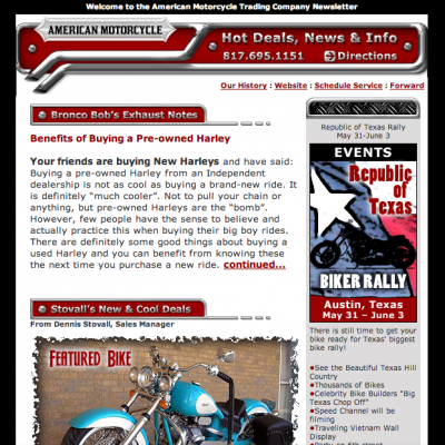 American Motorcycle Trading Company – Email Newsletter