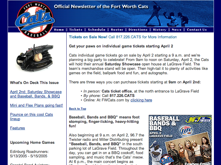 B2C Marketing-Fort Worth Cats email newsletter
